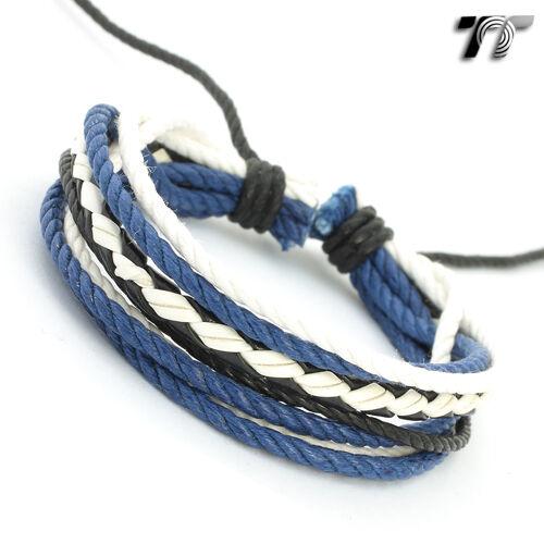 STYLISH T&T Leather Bracelet Wristband NEW LB107