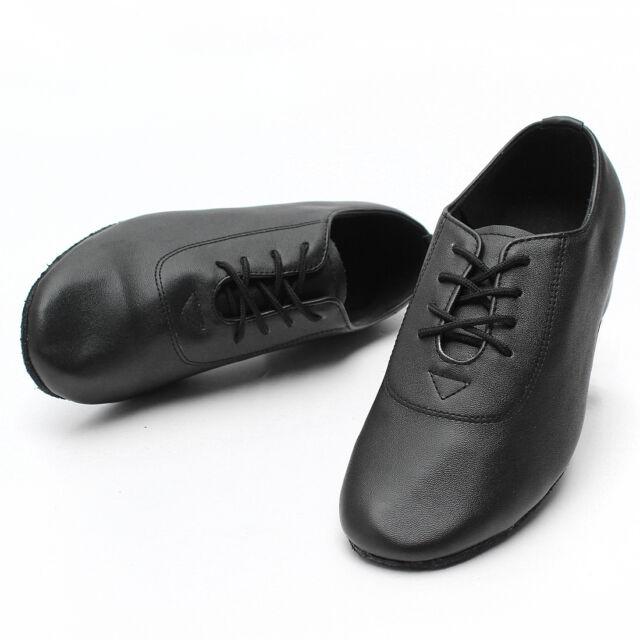 Boy Children Kid Black Leather Mid Heel Latin Tango Jazz Salsa Waltz Dance Shoes