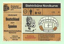 Orig.Ticket    15.10.1986    DEUTSCHLAND - SPANIEN  !!     SEHR SELTEN
