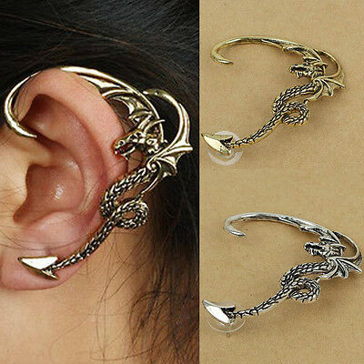 Vintage Cool Gothic Punk Rock Fly Dragon Stud Ear Cuff Wrap Clip Earring Jewelry