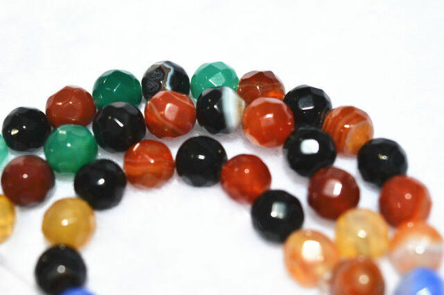 """Faceted Multicolor Agate Gems Round Loose Beads 15"""" NEW 8mm"""