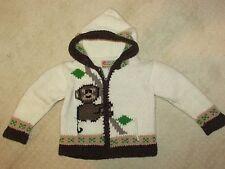 E.C.C. Ecuadorian Clothing Company Sz 2 Wool Blend Sweater Monkey Hooded Zipper