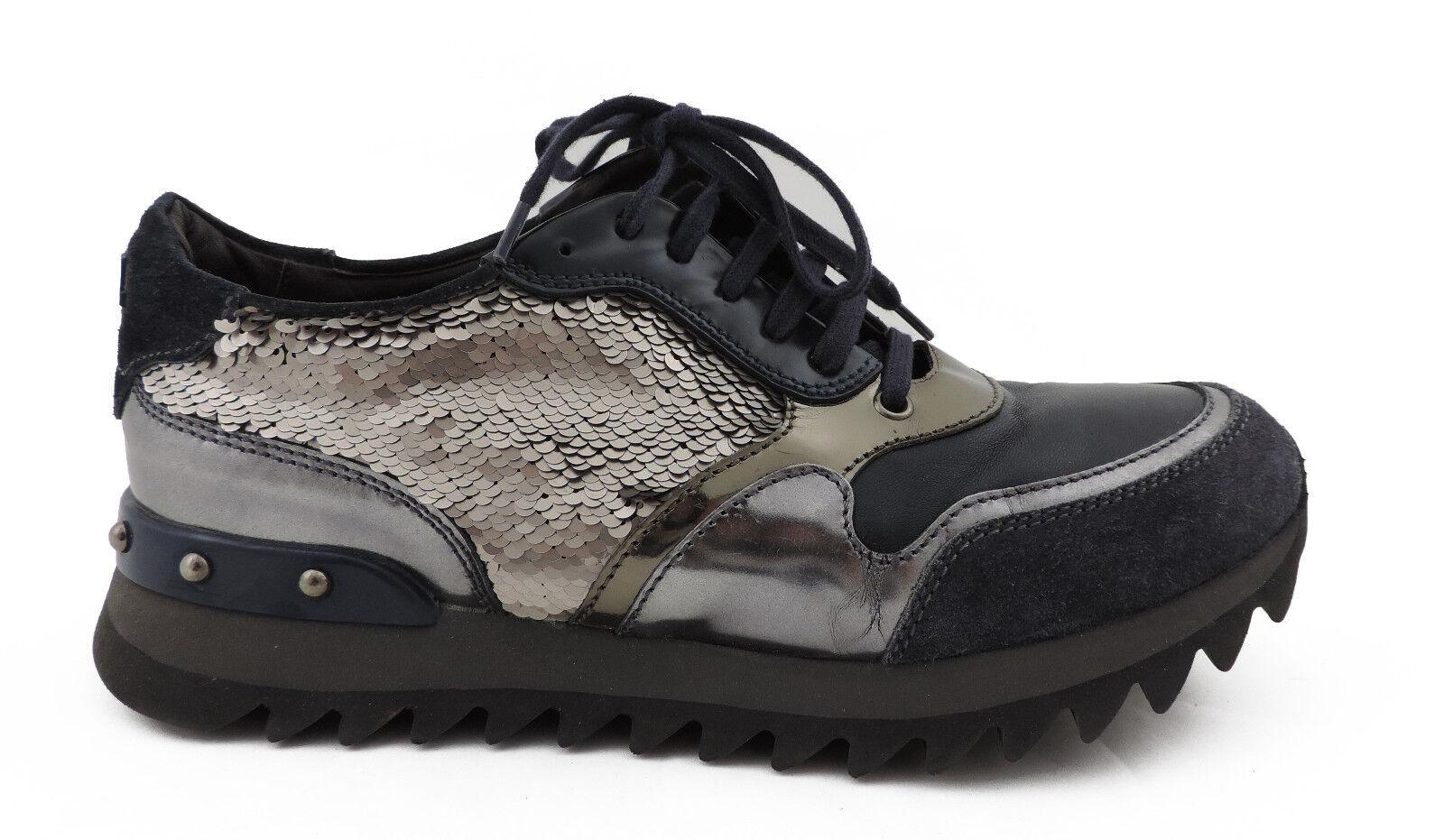 Attilio GRIGIO giusti Leombruni agl Sneaker 39 BLU GRIGIO Attilio PAILLETTES come nuovo Scarpe baace3