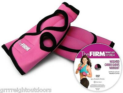The Firm Weighted Cardio Gloves Kit Two 1 lbs Pink Gloves Fat Burning Workout DV