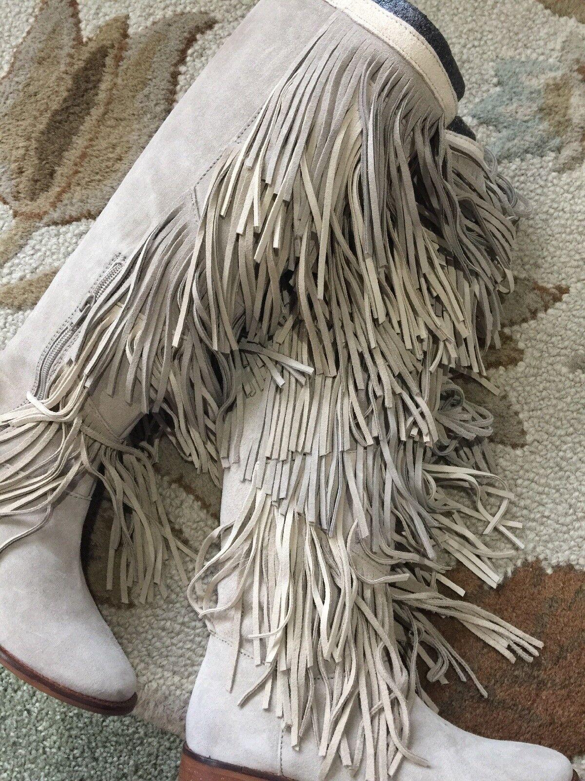 Zara Stiefel Gray Suede Fringe Knee Stiefel Zara Größe 6 6d110e