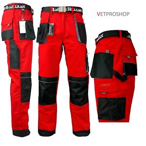 Dynamique Pantalon De Travail Robusto Rouge, DÉstockage Poches GenouillÈres