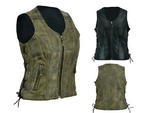 Ladies-Vintage-Genuine-Biker-Leather-Vest-Motorcycle-Club-Waistcoat-Australia