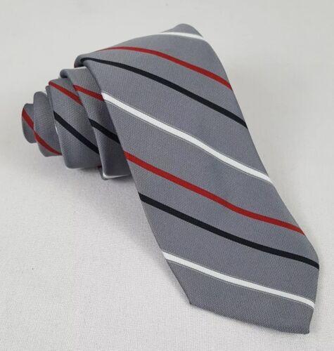 Vintage 60s Haulinetrigere Necktie Gray Red Stripe