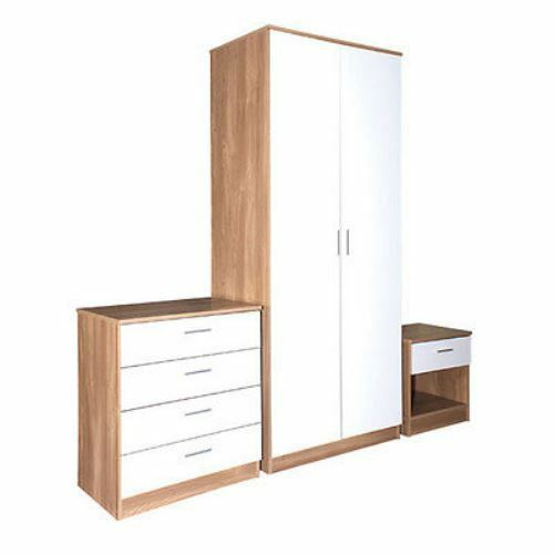 Oak & White Gloss Bedroom Furniture 3 Piece Trio Set Wardrobe, Chest , Bedside
