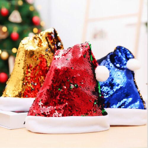 Christmas Sequin Hat Beanie Warm Up Hat Santa Claus Cap Party  Decoration Gift