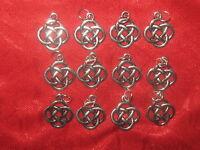 Wholesale Lot Of 12 Round Celtic Knot Irish Ireland Silver Tone Charms Pendants