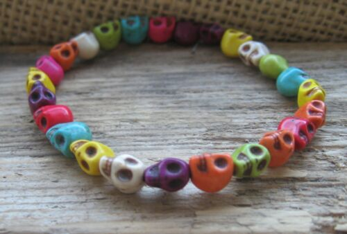 Bracelet de Surfeur Multicolore Tête Mort Hommes Caoutchouc Neuf