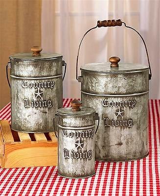 COUNTRY LIVING RUSTIC ANTIQUE LOOK KITCHEN OR LAUNDRY 3-PC CANISTER STORAGE SET