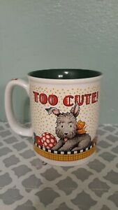 MARY-ENGELBREIT-Scottie-Dog-COFFEE-MUG-TEA-CUP-Green