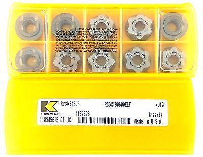 KENNAMETAL RCGX190600ELF RCGX64ELF KU10 Carbide Milling Insert Pack of 10 Insert