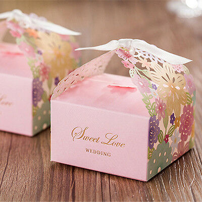 20PCS Laser Cut Multi Wedding Favours Sweets Party Gift Candy Boxes with Ribbon