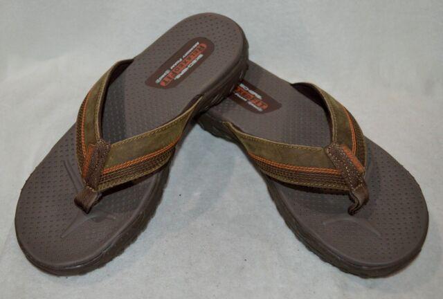 b04f68b9a55c Men`s Skechers Relaxed Fit Memory Foam 360 Flip Flops Size 11m Brown ...