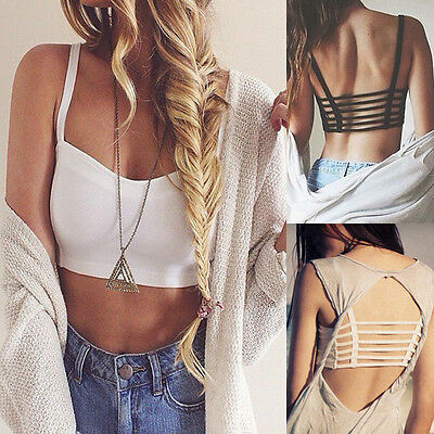 Sexy Women Cross Strap Padded Backless Wrapped Chest Shirt Tank Crop Top Blouse