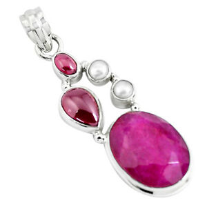 18-15cts-Natural-Red-Ruby-Garnet-925-Sterling-Silver-Pendant-Jewelry-P49393