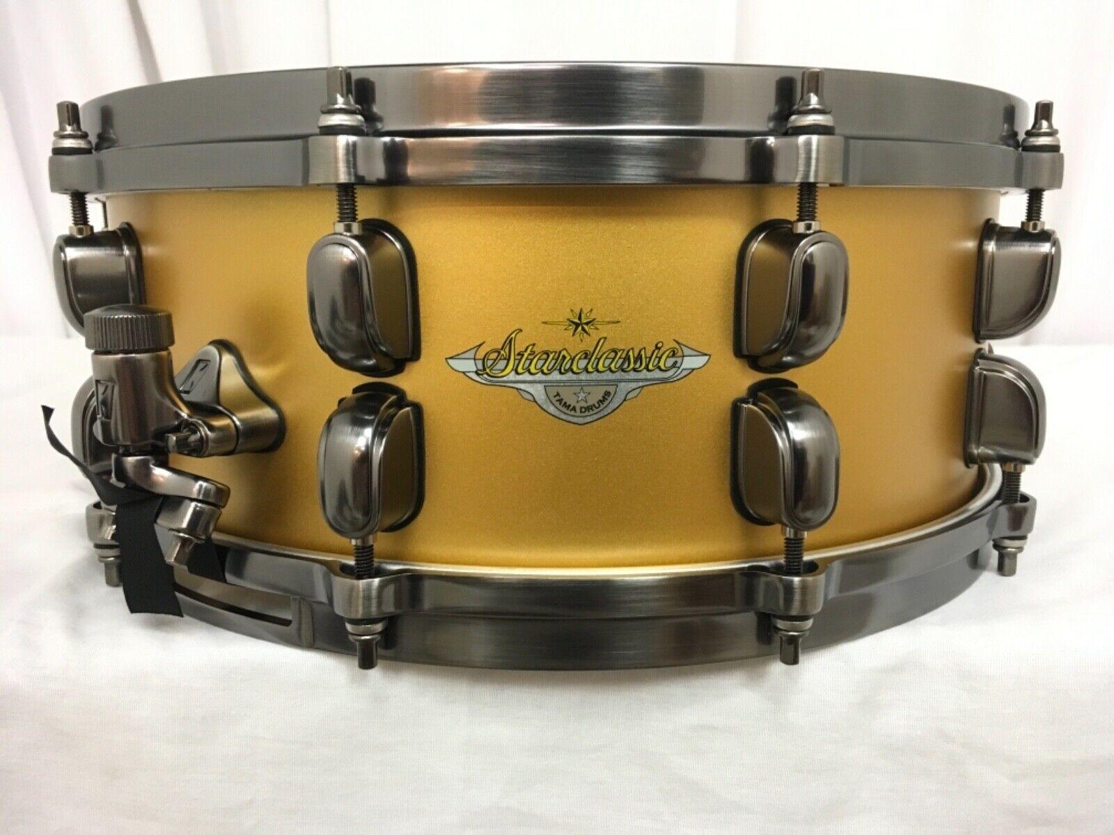 Tama Starclassic Maple 14  X 5.5  Snare Drum Satin Aztec Gold Metallic Brand New