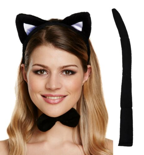 3 PIECE FANCY DRESS CAT SET HEN PARTY PUSSY TAIL BOW TIE HEADBAND SET ACCESSORY