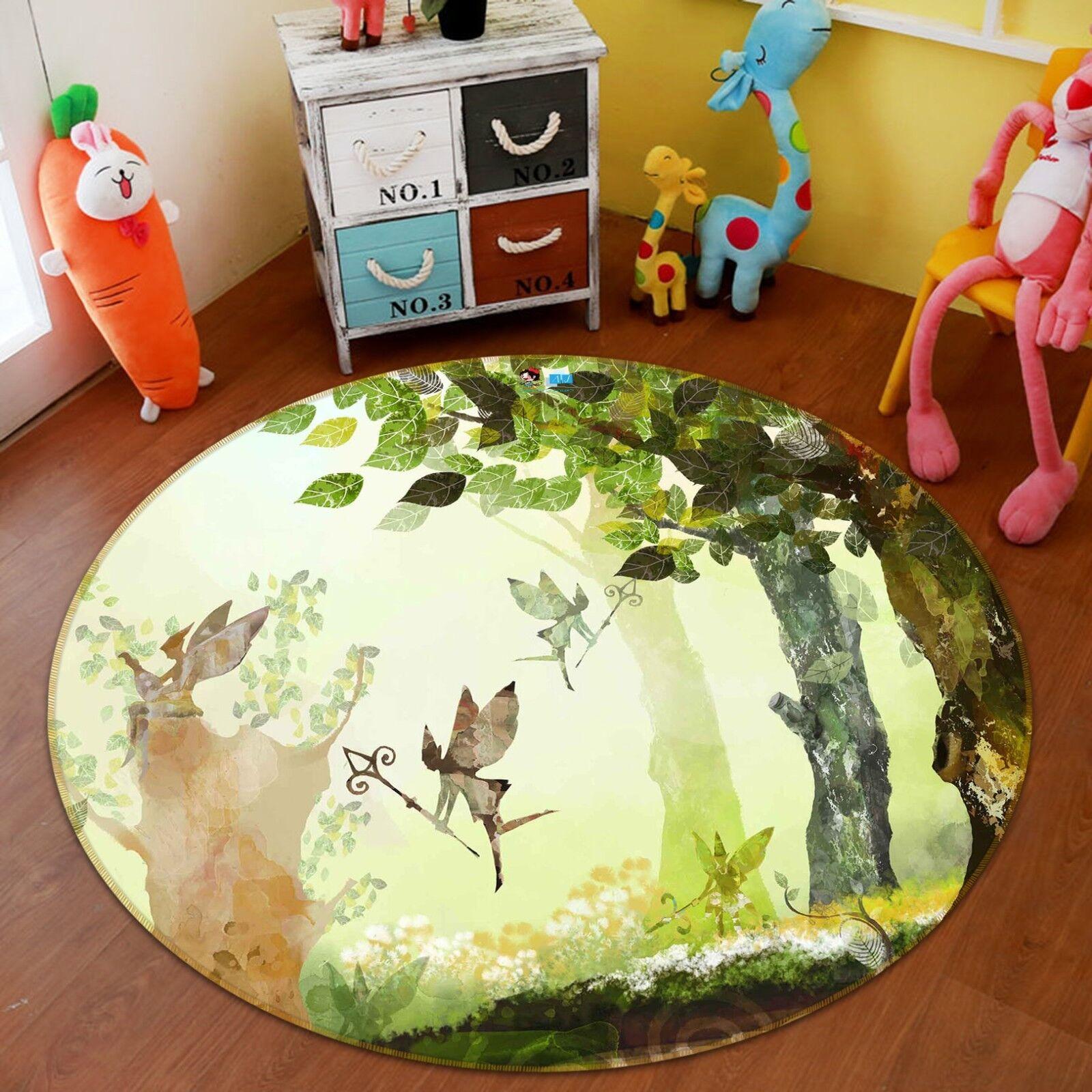 3D Cartoon Tree 5 Non Slip Rug Mat Room Mat Round Elegant Photo Carpet US Summer