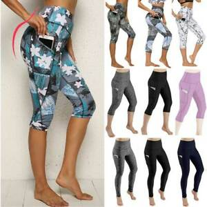 Women-High-Waist-Yoga-Pants-Capri-Sports-Fitness-Jogging-3-4-Leggings-Gym-Pocket