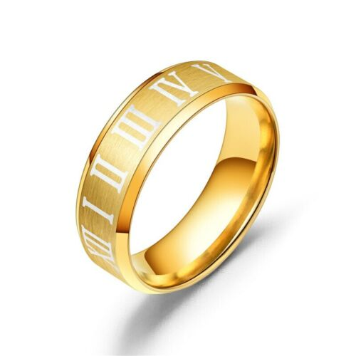 Para hombres Moda Plata Oro Números Romanos Azul Anillo Banda Boda Compromiso R17