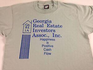 Georgia-Real-Estate-Investors-Shirt-VTG-90s-M-L-Happiness-Is-Positive-Cash-Flow