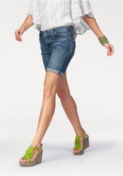 Pepe Poppy Jeansbermudas Shorts New W26-w32 Women Pants Stretch Denim bluee Used