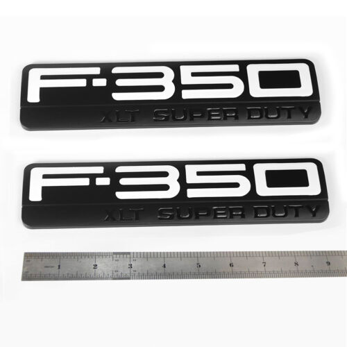 2x OEM F-350 XLT Super Duty  Emblems Badge W 3D for Ford F350 XLT Black White
