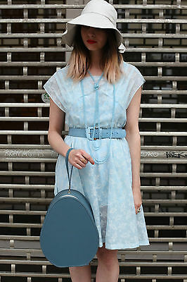 Fedele True Vintage 50er Abito 60er Cuciti A Mano Blu Chiaro Abito Estivo 50s Handmade Dress- Tieniti In Forma Per Tutto Il Tempo