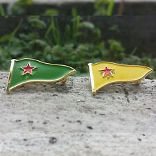 YPG YPJ Kurdistan Metal Flag Lapel Pin Badge Rozet 1 lot (1 pcs YPG + 1 pcs YPJ)