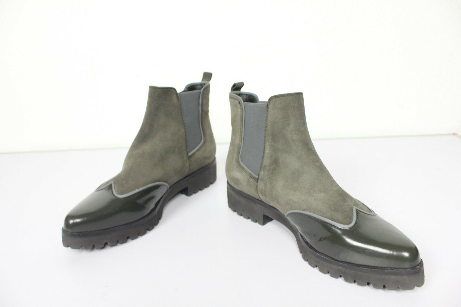Geox Respira elegante chelsea botas cuero genuino gris-verde tonos Mix eu 39 como nuevo