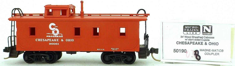 Micro Trains Line 50190 Chesapeake Ohio 90061 34' Caboose 1 160 Conf. Orig.