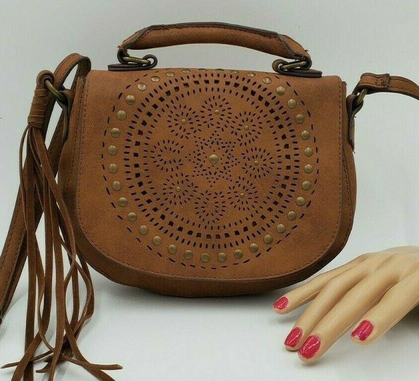 T-Shirt & Jeans Brown Saddle Bag Purse with Studs
