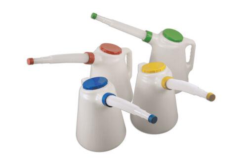 Fluid Oil Measuring Jug Set 4pc 5 litres 4x Coloured Pollutant Caps Flexi Spout