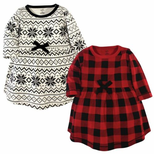 Buffalo Plaid Touched By Nature Girl Toddler Long Sleeve Organic Dress 2-Pack