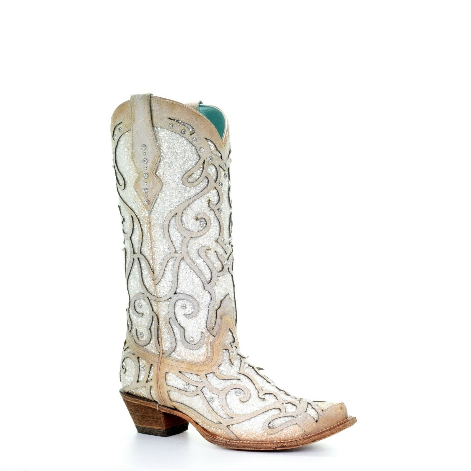 Corral Toe Ladies White Glitter Inlay/Crystals Sniped Toe Corral Boot C3434 b83d80