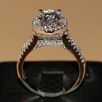 Size5-11 Round 7mm topaz 925 silver filled Diamonique Engagement Women Ring GIFT