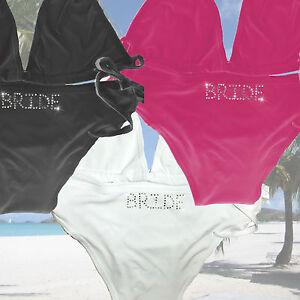 40da292b1f Image is loading Personalised-Bikini-Hen-Party-Mrs-Rhinestone-Honeymoon- Bride-