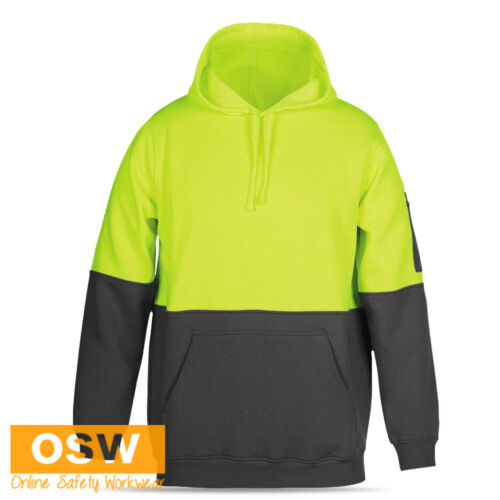 UNISEX HI VIS SAFETY CONTRAST WARM WINTER PULL OVER HOODIE WITH PEN SLEEVE