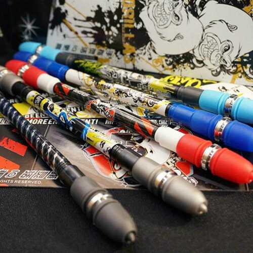 Non Slip Pen Coated Spinning Ballpoint Gaming Rolling Rotating Playing NEW