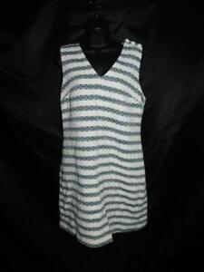 J-Crew-Size-8-Blue-White-Striped-Tweed-Sheath-Dress-Sleeveless-Lined-Cotton