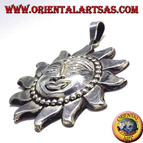 Ciondolo In Argento 925 ‰ Sole Nepalese cesellato a mano Grande