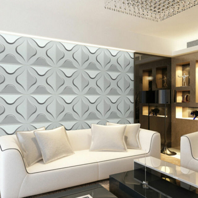 4pcs 3d White PVC Wall Panel Cladding Wallpaper Bedroom