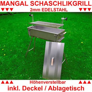 mangal mit deckel 2mm edelstahl schaschlikgrill bbq holzkohlegrill grill ebay. Black Bedroom Furniture Sets. Home Design Ideas