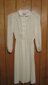 Vintage-Robin-Joy-Jrs-White-Long-Sleeve-Collared-Sheer-Dress-Sz-11-Union-Made