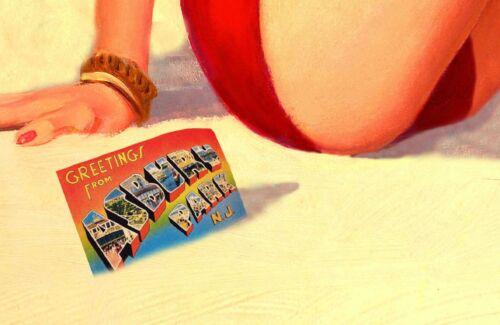 ASBURY PARK New Jersey Shore Original Beach Travel Poster Pin Up Art Print 167