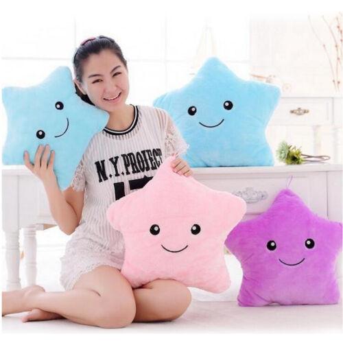 Cute Toy Colorful LED Toys Luminous Five Stars Glow light Pillow Plush Stuffed